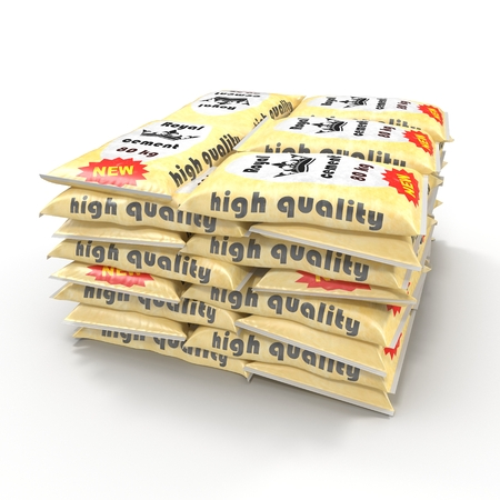 sacks: Stack of paper bags with cement isolated on white. 3D illustration Stock Photo