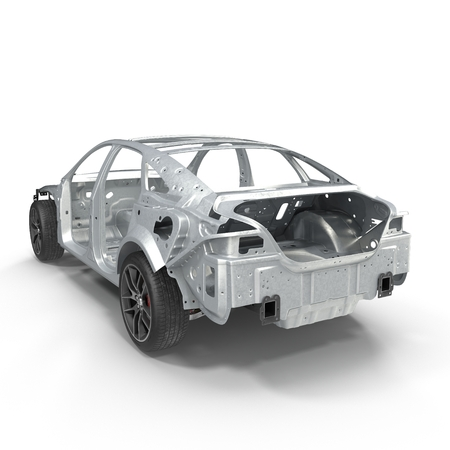chassis: Sedan without cover on white. Rear view. 3D illustration
