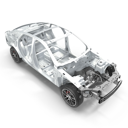 chassis: Angle from up Car Frame with Chassis on white. 3D illustration