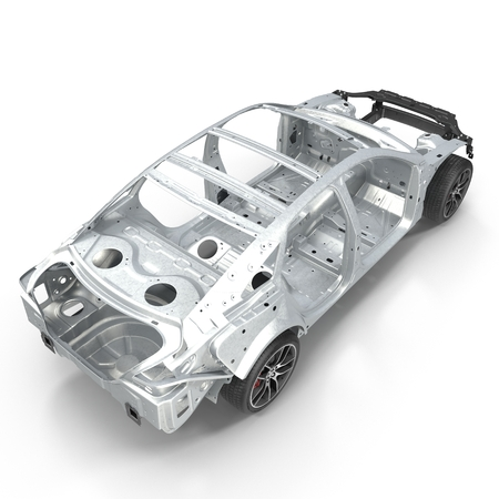 undercarriage: Angle from up Car Frame with Chassis on white. 3D illustration