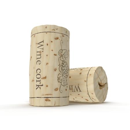 used: Used Wine Cork on white. 3D illustration Stock Photo