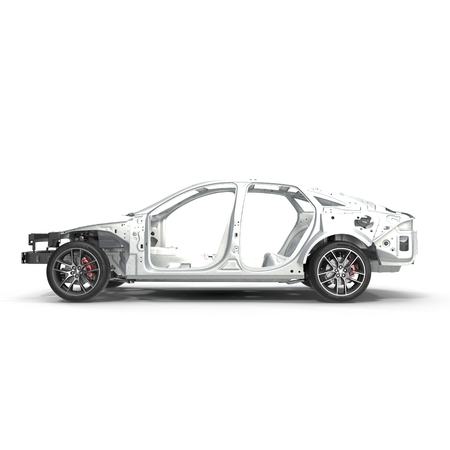 undercarriage: Skeleton of a car with Chassis on white. Side view. 3D illustration Stock Photo