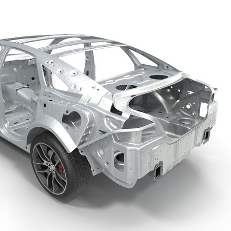 undercarriage: Skeleton of a car with Chassis on white. 3D illustration Stock Photo