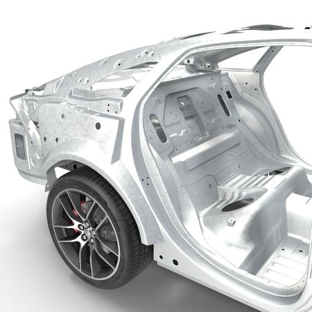 Carcasse af une berline avec châssis sur blanc. illustration 3D