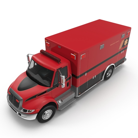 Angle from up Emergency ambulance car isolated on white. 3D Illustration Stock Photo