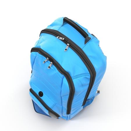 Blue backpack or back pack or school bag or rucksack isolated on white. 3D illustration Stock Photo