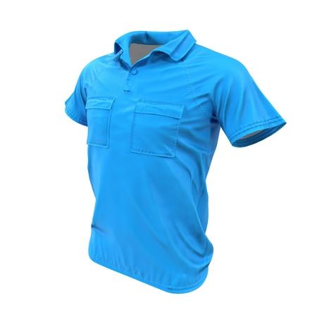 Blue Pocket T-Shirt on white. 3D illustration