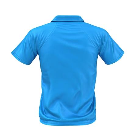 Blue Pocket T-Shirt on white. Rear view. 3D illustration