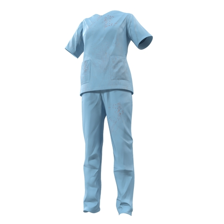 operation for: Blue operation dress for woman stained with blood isolated on white. 3D illustration