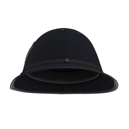 伝統的なイギリスの警察のヘルメットが白で隔離。側面図です。3 D イラストレーション