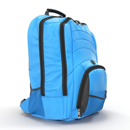 Blue Backpack isolated in white. 3D illustration