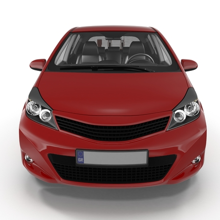 Generic hatchback car on white. Front view. 3D illustration Stok Fotoğraf