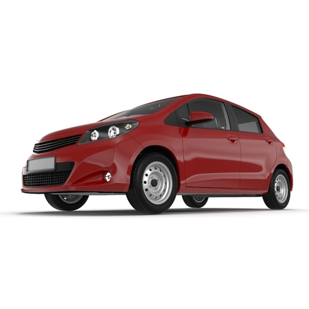 Generic hatchback car on white. 3D illustration