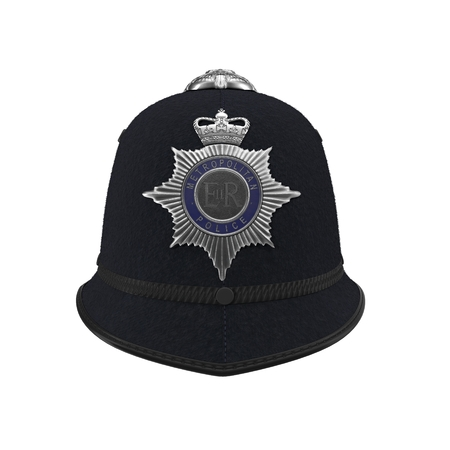 bobby: traditional british police helmet isolated on white. Front view. 3D illustration