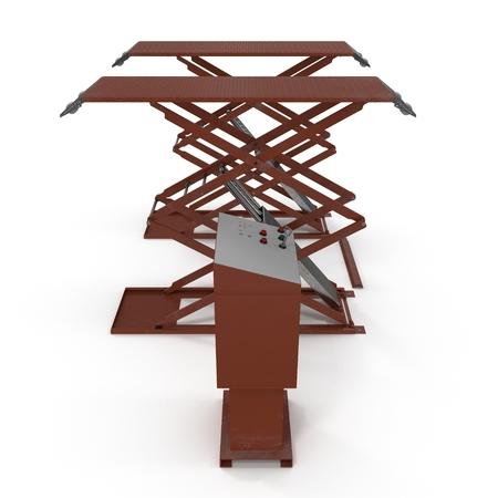 hydraulic platform: Automotive Scissor Lift on white. Side view. 3D illustration