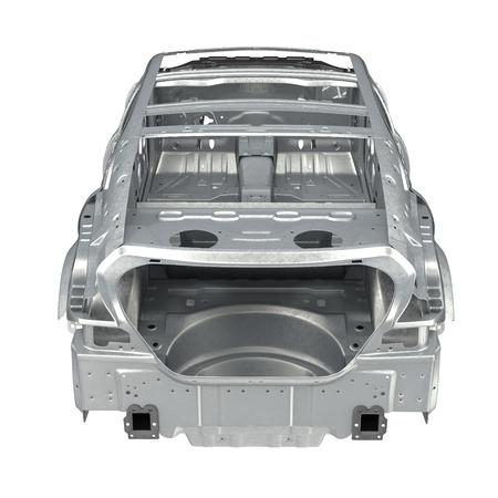 bodywork: Rear view Carcass af a sedan car on white background. 3D illustration Stock Photo