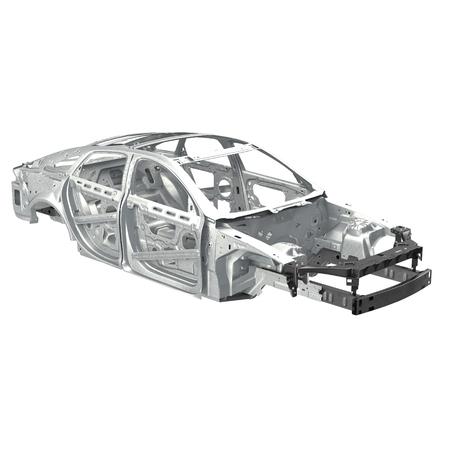 bodywork: Sedan without cover on white. 3D illustration Stock Photo