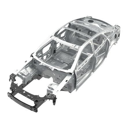 枝肉 af 白のセダン車。上からの角度。3 D イラストレーション 写真素材