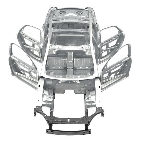bodywork: Front view Carcass af a sedan car on white. 3D illustration Stock Photo
