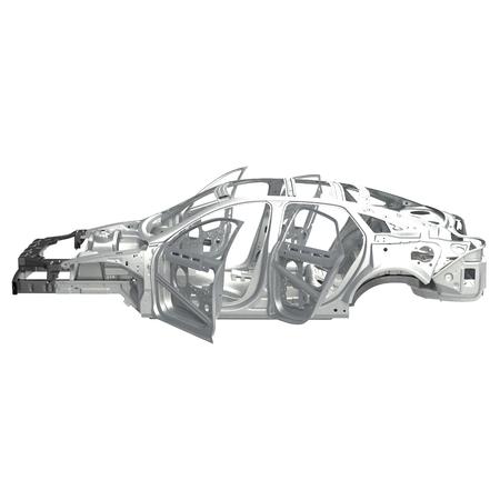 Side view Carcass af a sedan car on white. 3D illustration