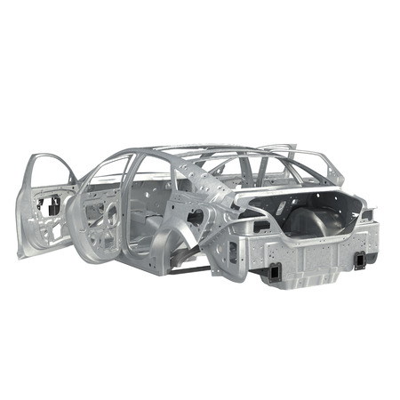 bodywork: Carcass af a sedan car with opened doors on white. 3D illustration