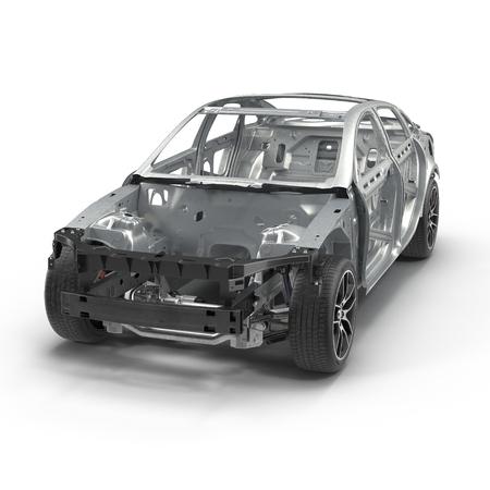 bodywork: Skeleton of a car on white. 3D illustration