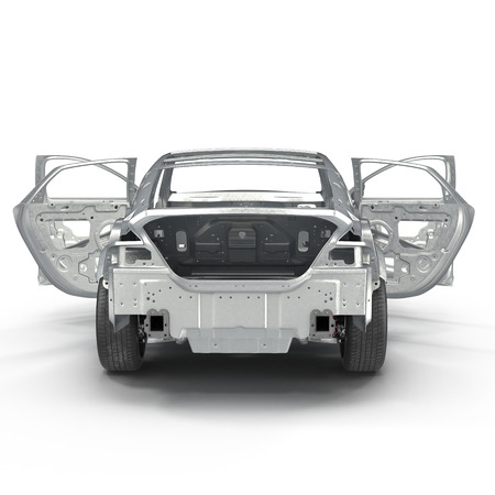 bodywork: Sedan without cover on white. Rear view. 3D illustration