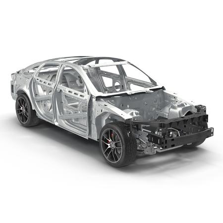 ホワイトのシャーシに車のフレーム。3 D イラストレーション