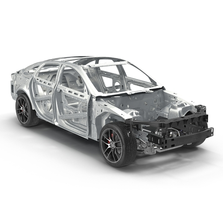 Car Frame with Chassis on white. 3D illustration