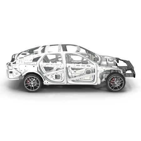 Skeleton of a car with Chassis on white. Side view. 3D illustration Stock Photo