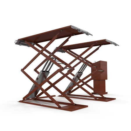 hydraulic platform: Automotive Scissor Lift on white. 3D illustration