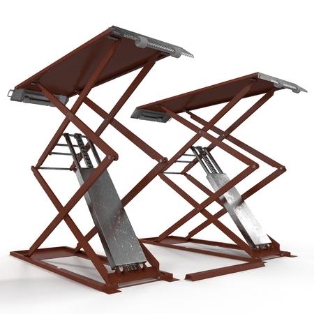 lift up: Automotive Scissor Lift on white. 3D illustration