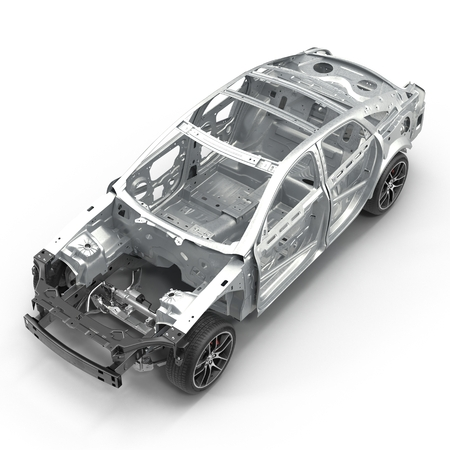 bodywork: Angle from up Car Frame with Chassis on white. 3D illustration