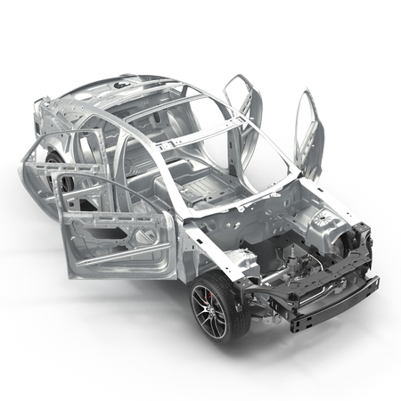 Sedan without cover on white. 3D illustration Stock Photo