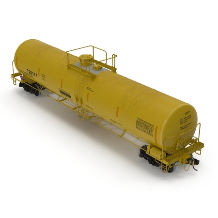 Yellow Railroad Tank Car on white. Angle from up. 3D illustration