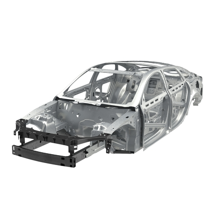 bodywork: Side view Carcass af a sedan car on white. 3D illustration