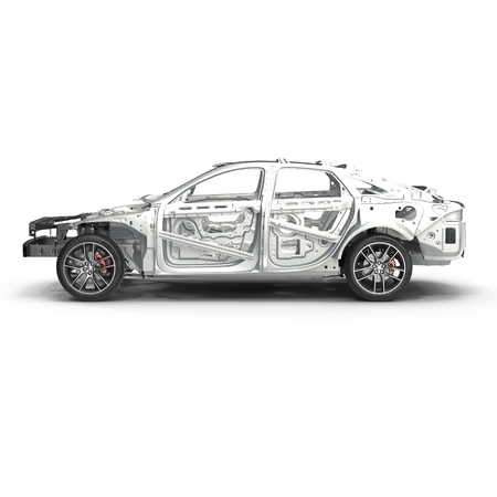 bodywork: Skeleton of a car with Chassis on white. Side view. 3D illustration Stock Photo