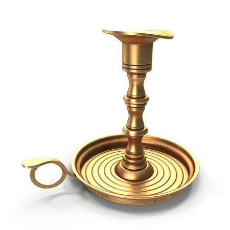Antique Brass Candle Holder on white. 3D illustration