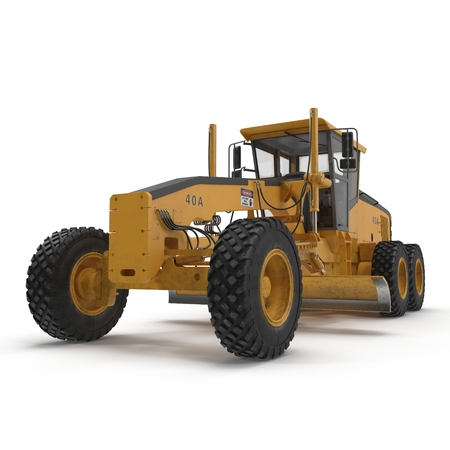 road grader bulldozer over white. 3D illustration