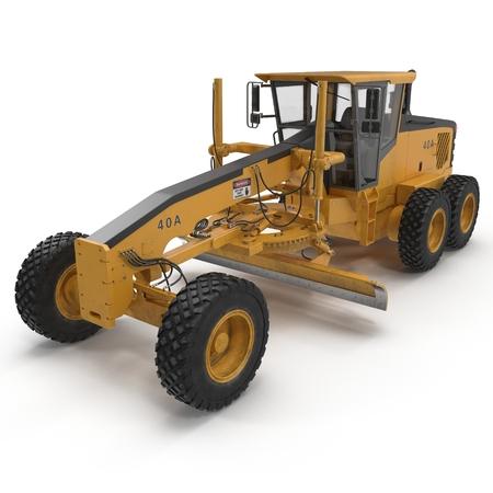 grader: road grader bulldozer over white. 3D illustration