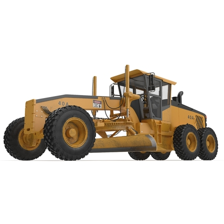 Road grader - heavy earth moving road construction equipment on white. 3D illustration