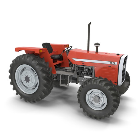 Vintage Farmall Tractor on white. 3D illustration