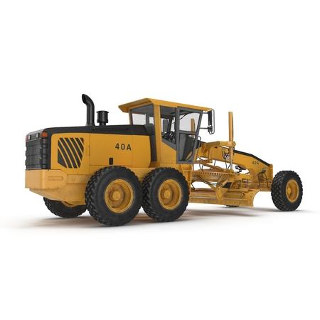 grader: Rear view Road grader - heavy earth moving road construction equipment on white. 3D illustration