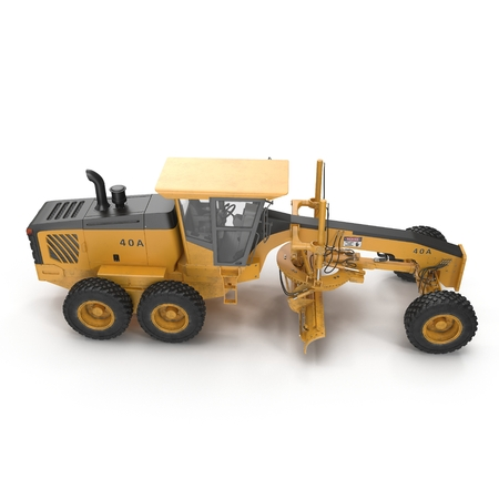 grader: Modern three-axle road grader isolated on a white. 3D illustration Stock Photo