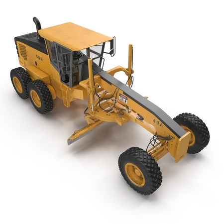 Modern three-axle road grader isolated on a white. Angle from up. 3D illustration Stock Photo