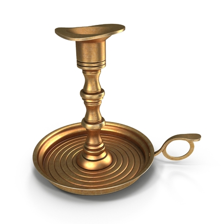 Antique Brass Candle Holder on white. 3D illustration