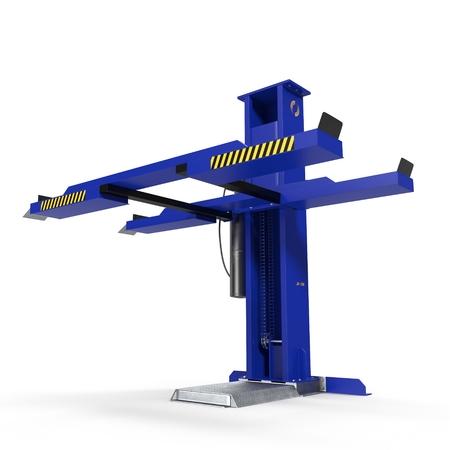 hydraulic platform: Single Post Car Lift on white. 3D illustration Stock Photo