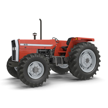 Retro Tractor on white. 3D illustration Stock Photo