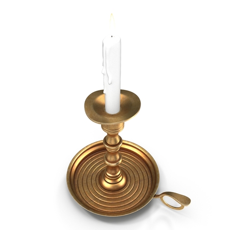Old candleholder with candle isolated on white. 3D illustration