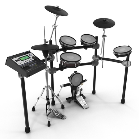 bass drum: Electronic Drum Kit on white. 3D illustration